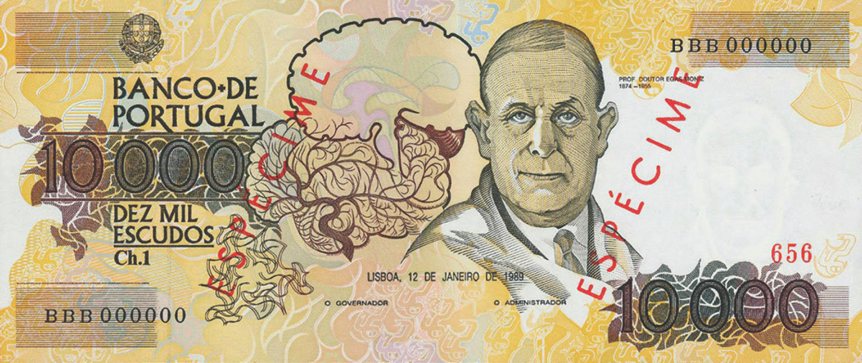 Figure 28: Portuguese neurologist Egas Moniz featured on a 10,000 Escudos currency note of 1989 of Bank of Portugal.