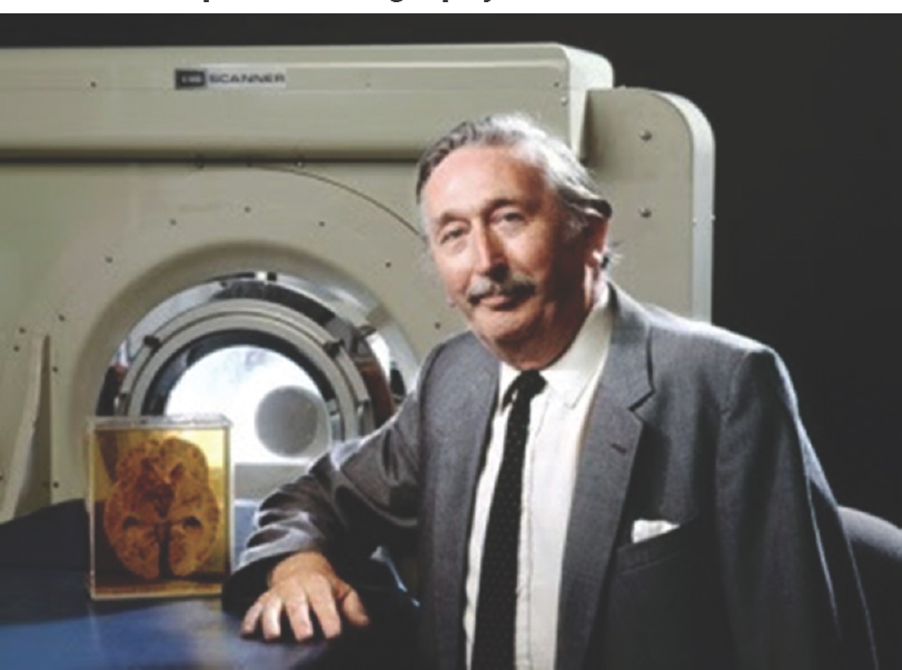 Figure 34: Sir Godfrey Hounsfield standing before his brainchild: a CT scan machine; with an anatomical cross-section of human brain.