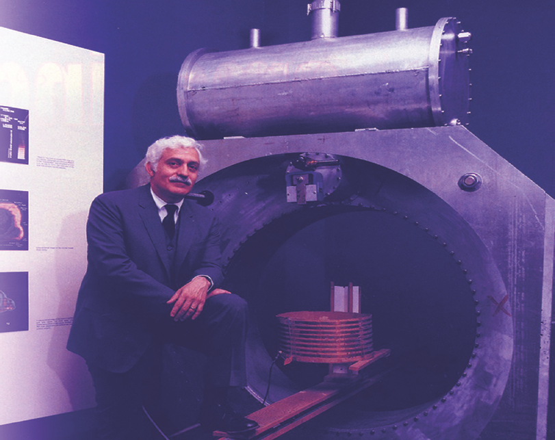 Figure 37: American physician Raymond V. Damadian with his creation, the first clinical MR machine Indomitable.